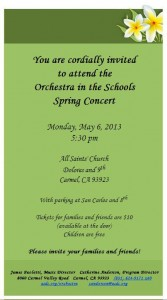 Orchestra in the Schools Spring Concert, May 6 at All Saints', Carmel