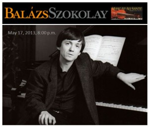 Balázs Szokolay in Concert May 17 at All Saints', Carmel