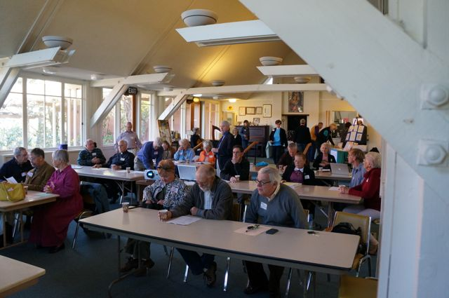 Delegates to the Monterey Deanery gather in the parish hall of St. John's Chapel, Monterey, on February 23, 2013.