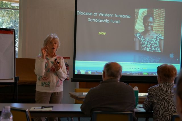 Julie Fudge presents the scholarship program for the Diocese of Western Tanganyika.