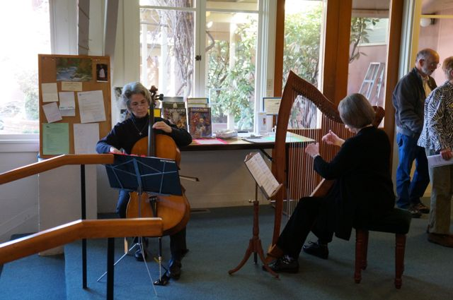 Music for the opening meditation is provided by Bonnie Ott, cello, and Karen Turner, harp.