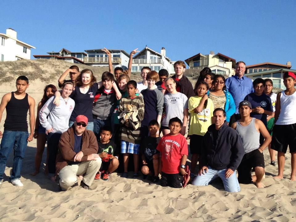 Part of the gang, St. Francis - Macon, San Pablo - Seaside, and Cristo Rey/All Saints' - Watsonville, at the beach in Monterey.