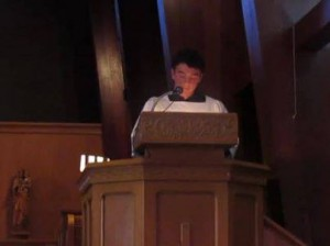 Harrison McDonough preaches at St. Paul's, Salinas, on July 14