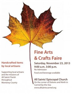 Fine Arts and Crafts Faire on November 23 at All Saints', Carmel